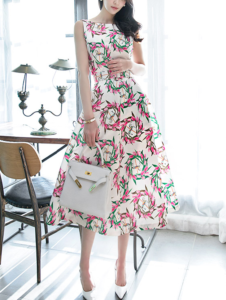D3516 Garden Flower Sleeveless Dress (Beltset) * L size production * (47th REORDER)