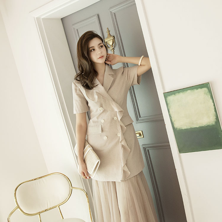 J675 Lau Frill Linen Jacket (can be worn as one piece) (21reorder)