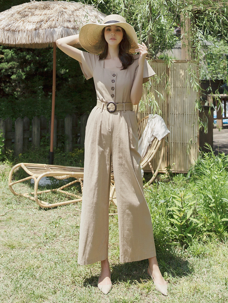 D3816 Raise Four botton Frill Jump Suit (Beltset)