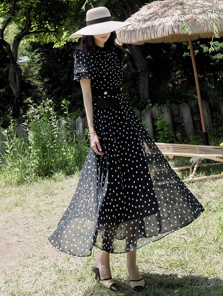D3814 Hecanie dot Gold Button Dress * L size production * (22reorder)