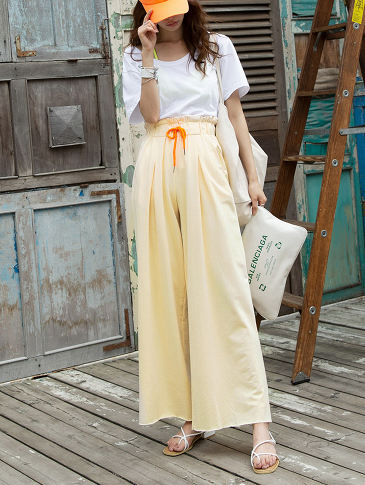 P2072 String Color Point Easy Pants