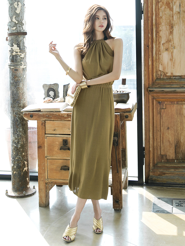 D3612 Back Vent Knit Holter Dress * front, back wearable * (84th REORDER)