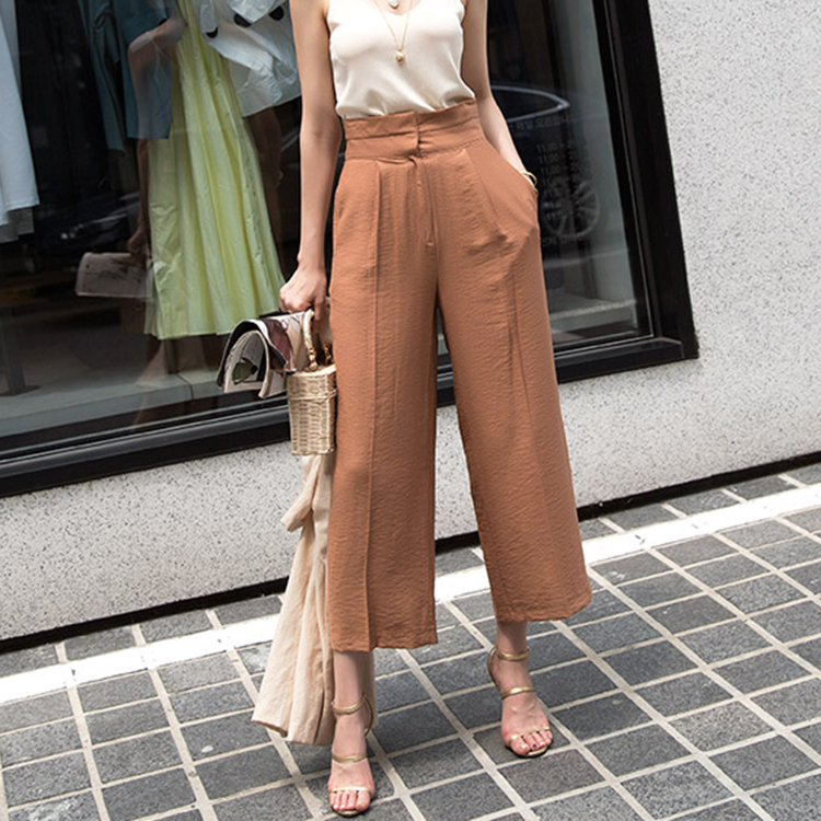 P2083 Waist point Linen wide Pants (9reorder)