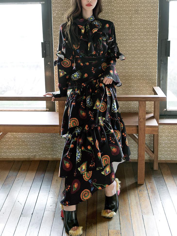 D9057 feminine Frill Long Dress