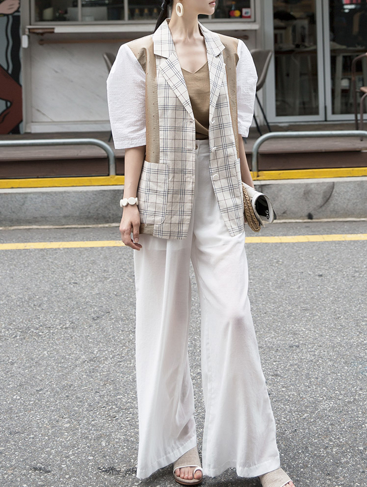 J687 Silky mix Check Linen Jacket