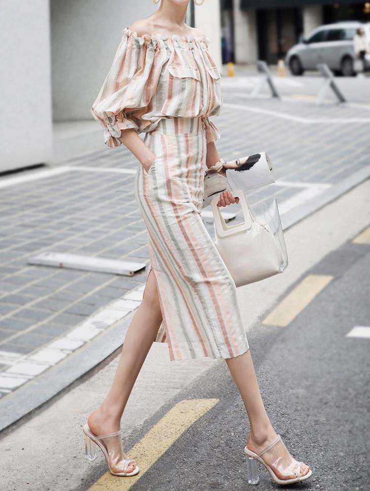 SK1910 Stripe Line Slit Linen Skirt (6reorder)