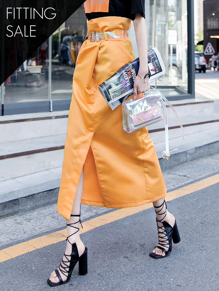 PS1571 Shine Long Slit Skirt (belt set) * Fitting Sale *