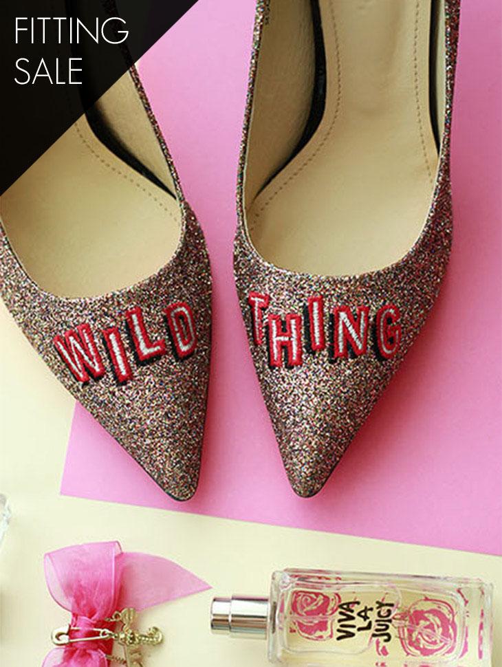 PS1599 Glitter embroidery Pump heel * HANDMADE * Fitting sale *