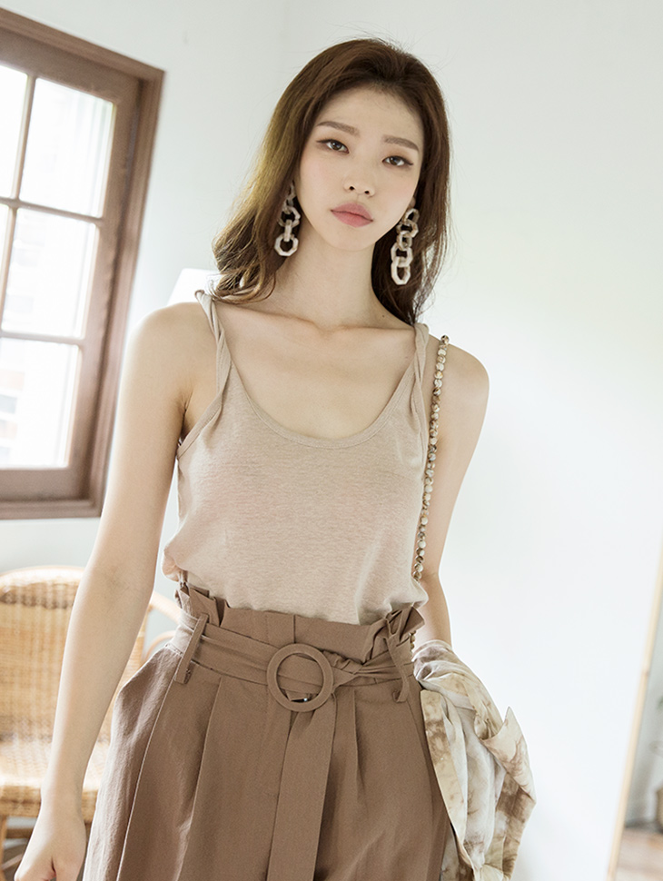 E1964 See-through twist Sleeveless Top
