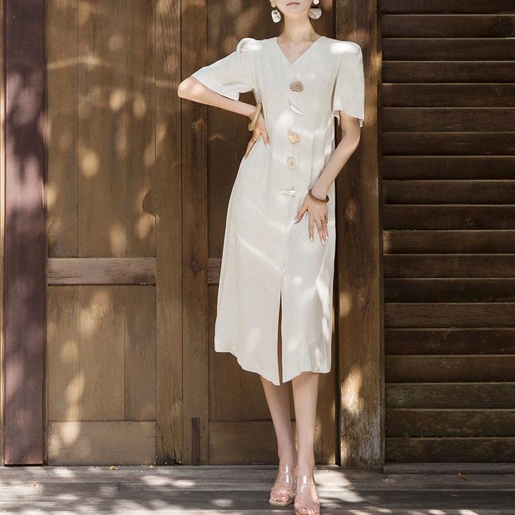 D3845 Puff Linen Stone Button point Dress (8reorder)