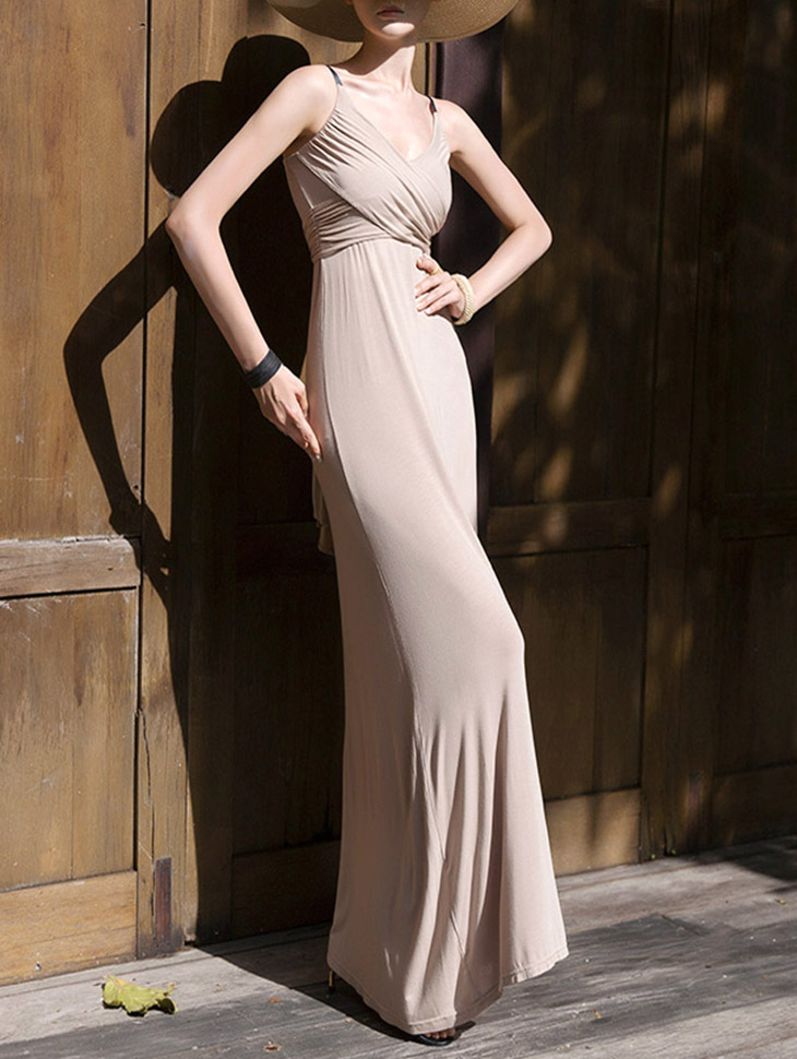 D3846 Fidel v warp Sleeveless Long Dress (8reorder)