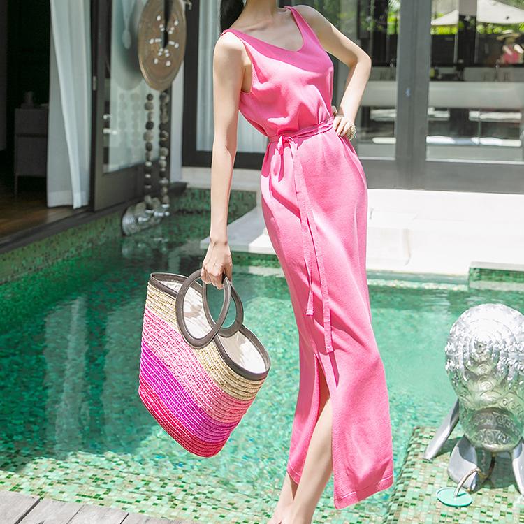 D3844 Selifin Sleeveless Knit Long Dress (Beltset)