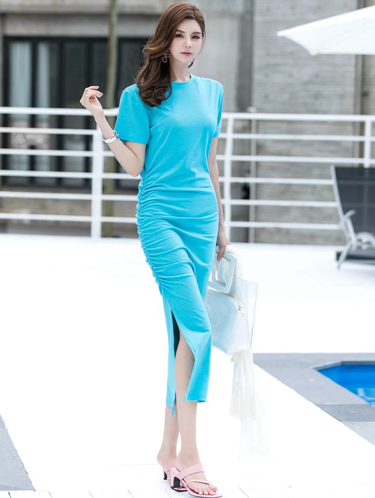 D-4581 Eli Span Shirring Long Dress (15reorder)
