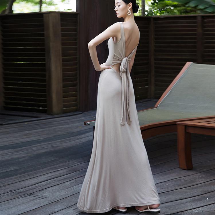D3841 Gorgeous Back ribbon Long Dress