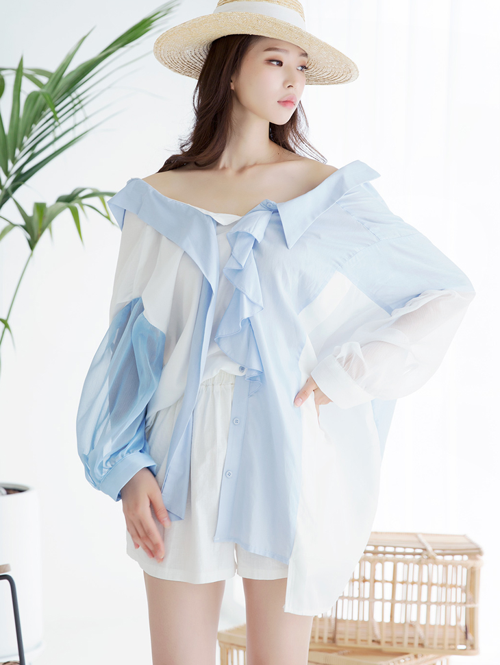 B2456 Hatini Unbalance Frill Collar Blouse * front, back wearable *