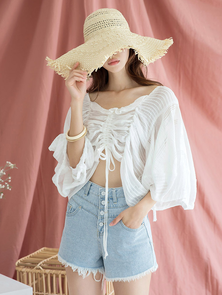 B2457 Future Shirring Short Blouse