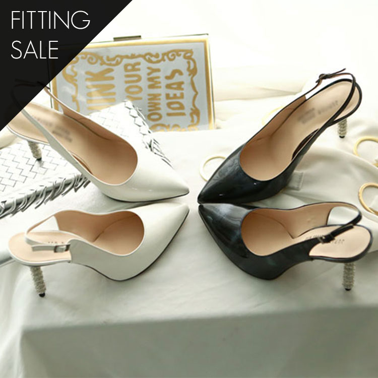 PS1598 chic diamond Sling backs heel * HAND MADE * fitting sale *