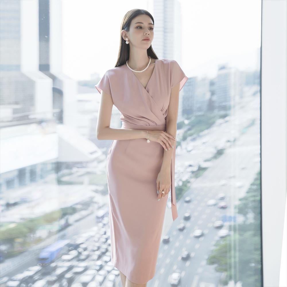 D3824 rare Shirring warp Dress (Beltset) (31st REORDER)