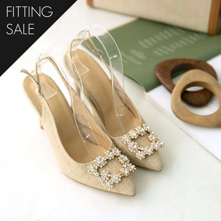 PS1613 Square cubic Linen High heels * Fitting Sale *