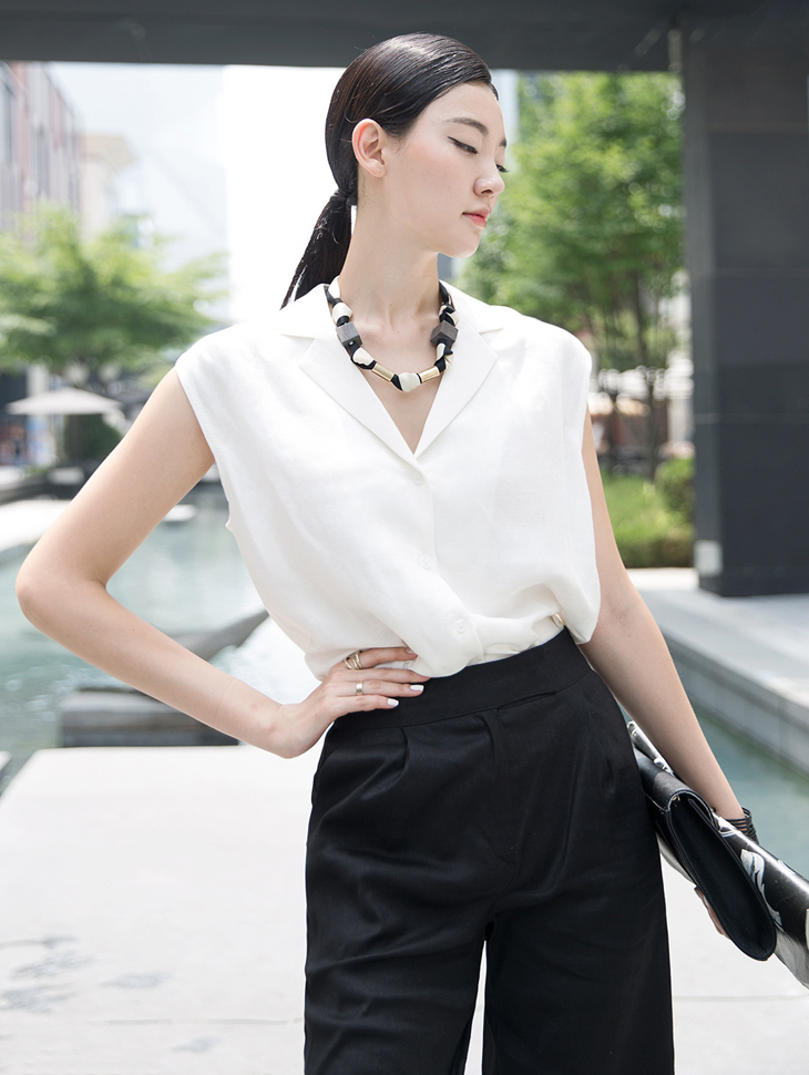 S314 Collar Linen Sleeveless Shirt