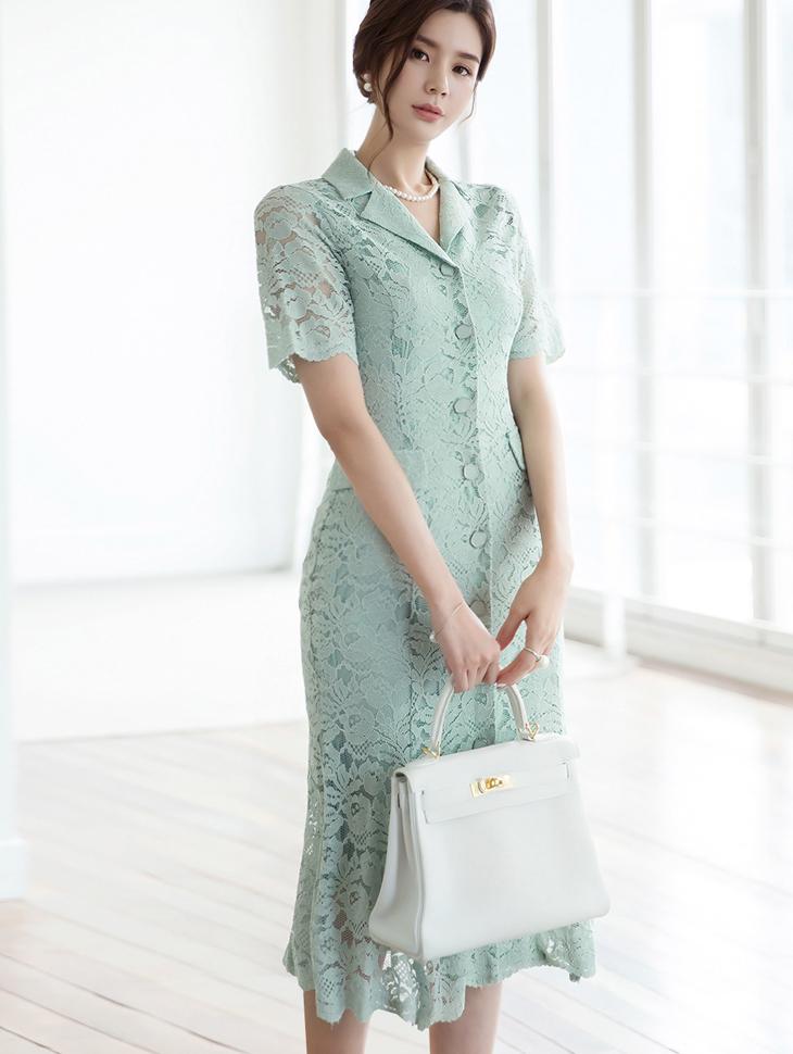 D3883 Olish Button Lace Dress