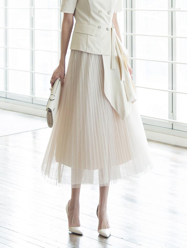 SK1917 Lipia Mesh Pleats Skirt