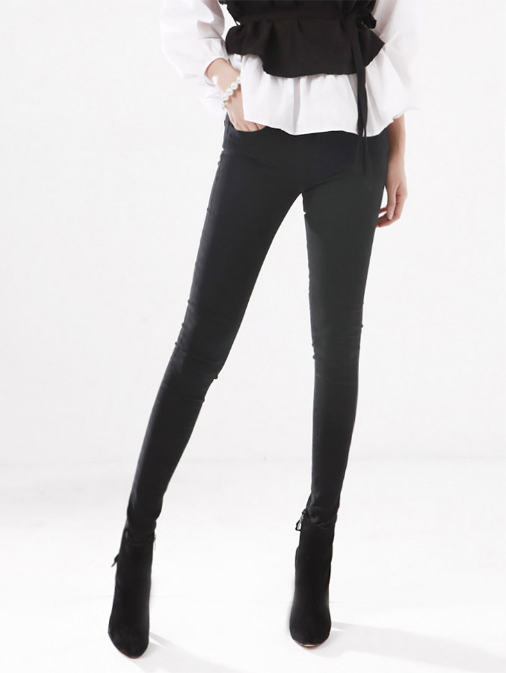 P1138 Basic Line Pitch Brushed Slim Fit Color Pants * L size production * (194th REORDER)
