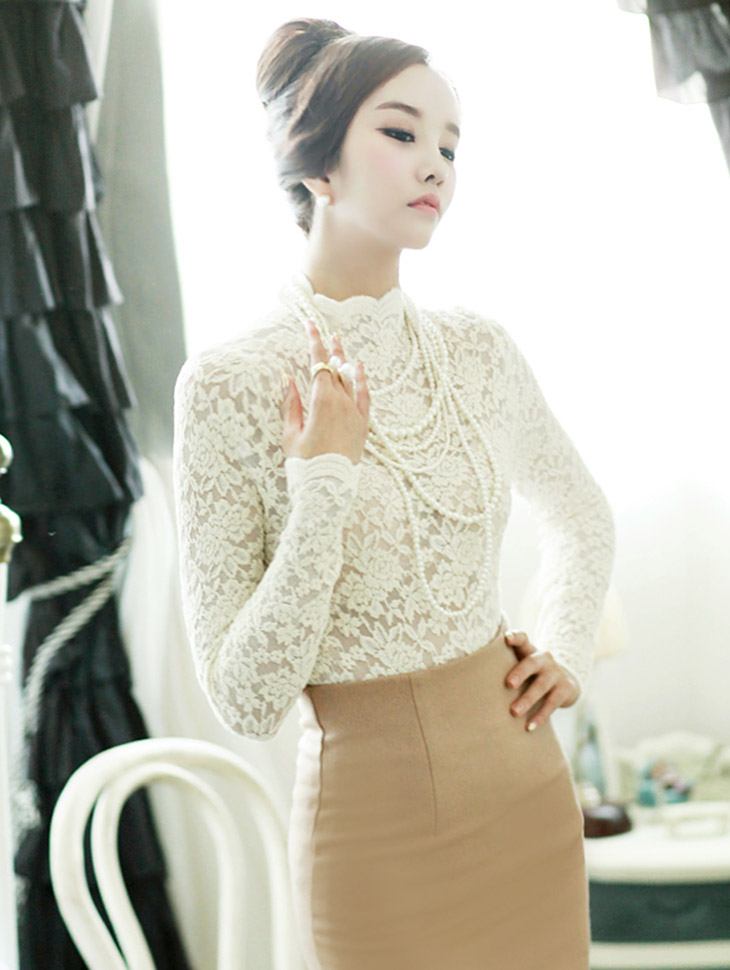 B1300 Highneck Lace See-through Blouse (339th REORDER)