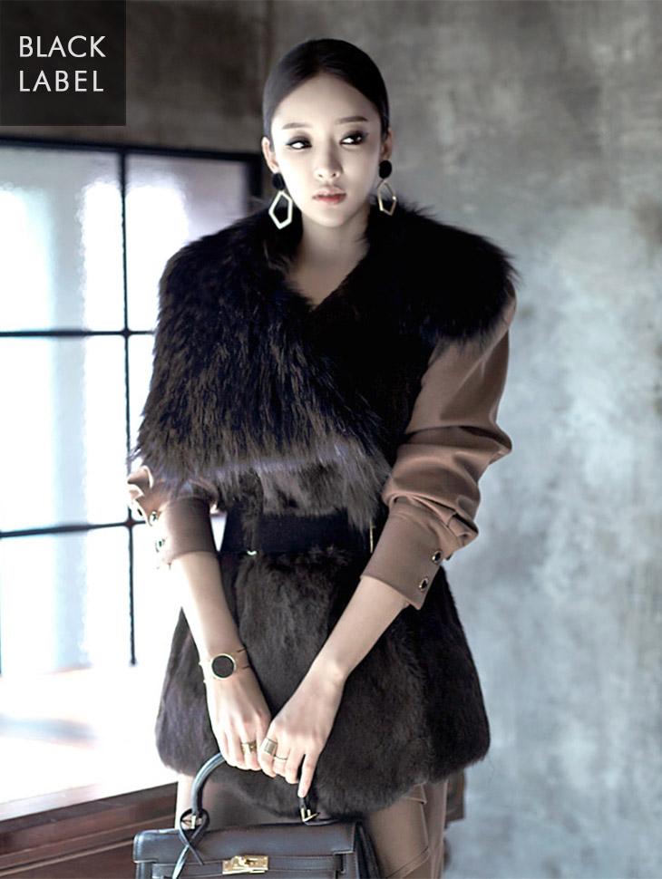 J-2711 Unbalanced Volume Fur Vest * Black Label *