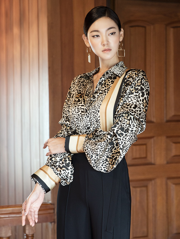 S315 Lining mix Leopard Shirt (6th REORDER)(Production period Take 2 weeks, Sequential forwarding scheduled))