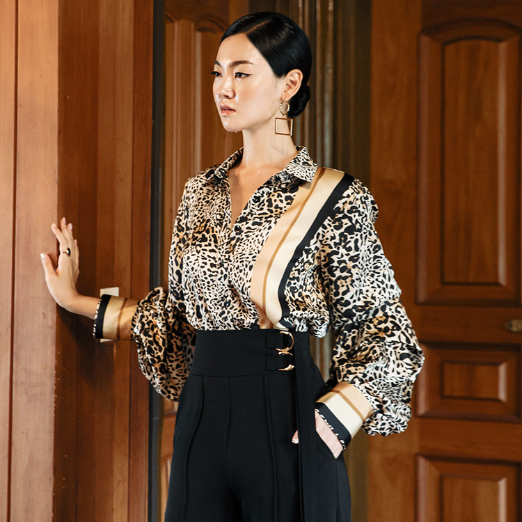 S315 Lining mix Leopard Shirt (6th REORDER)