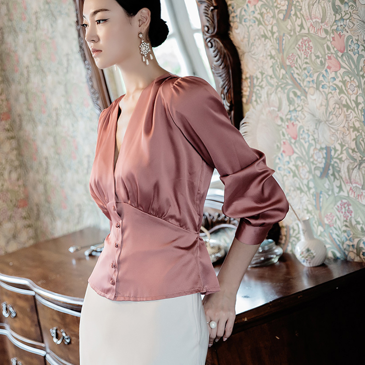 B2476 Button pointing Satin Blouse (12th REORDER)