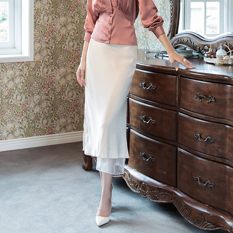 SK1927 Soft silky See-through Arrangement of colors Skirt