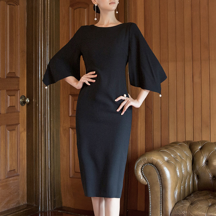 D3885 wide Puff Slim Pearl Trimming Dress * L size production * (6th REORDER)