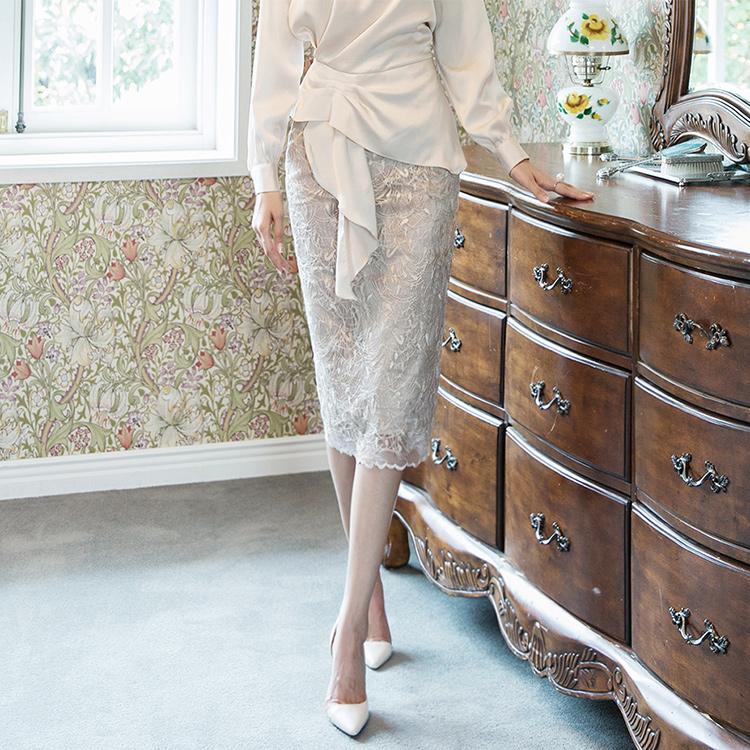 SK1923 feminine See-through Lace Skirt