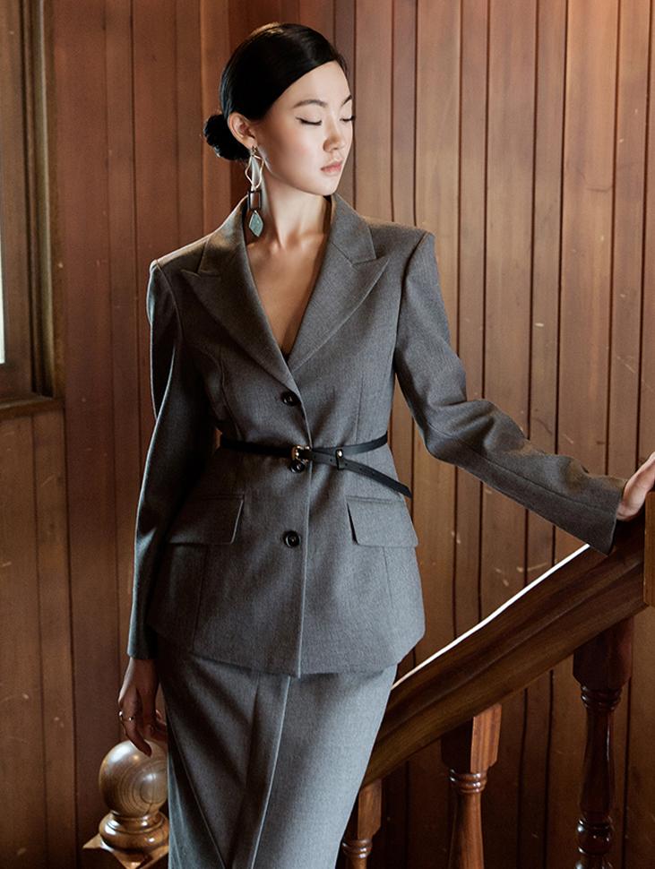 J704 standard formal line wool jacket (belt set)