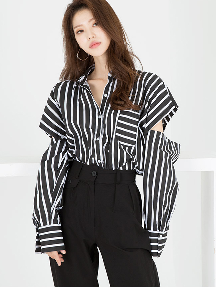 S321 Button elbow Slit Boxy Shirt