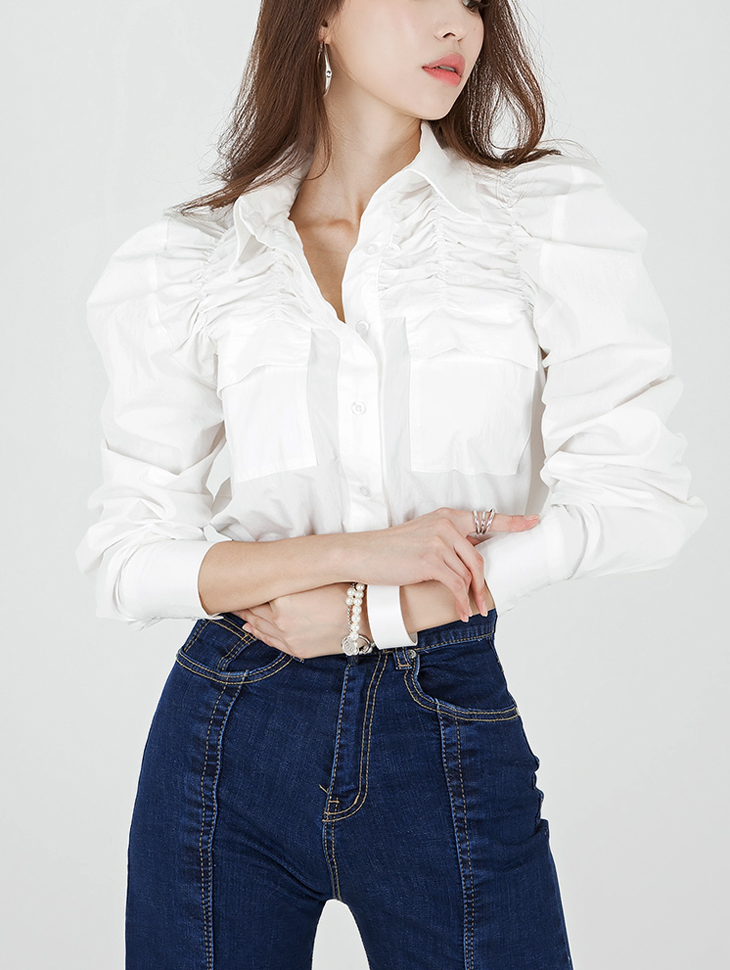 S320 Wylene Shoulder Shirring Shirt