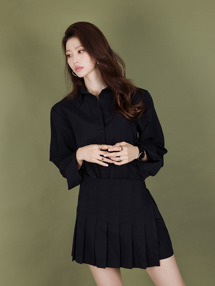 S317 harlin pleats point shirt