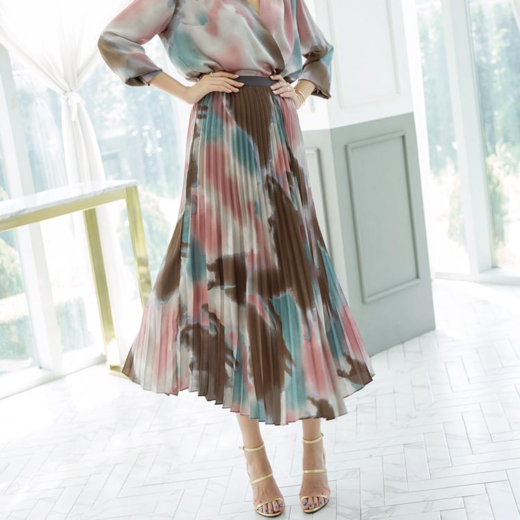 SK1931 Mary pleats Line Skirt