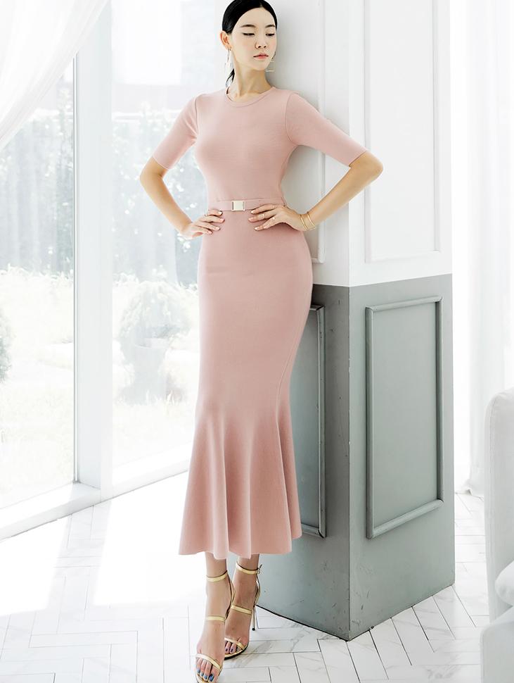 D3888 Slim Knit Mermaid Dress (Belt set)