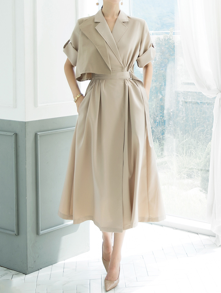 D3891 Trench Double Arrangement of colors warp Dress