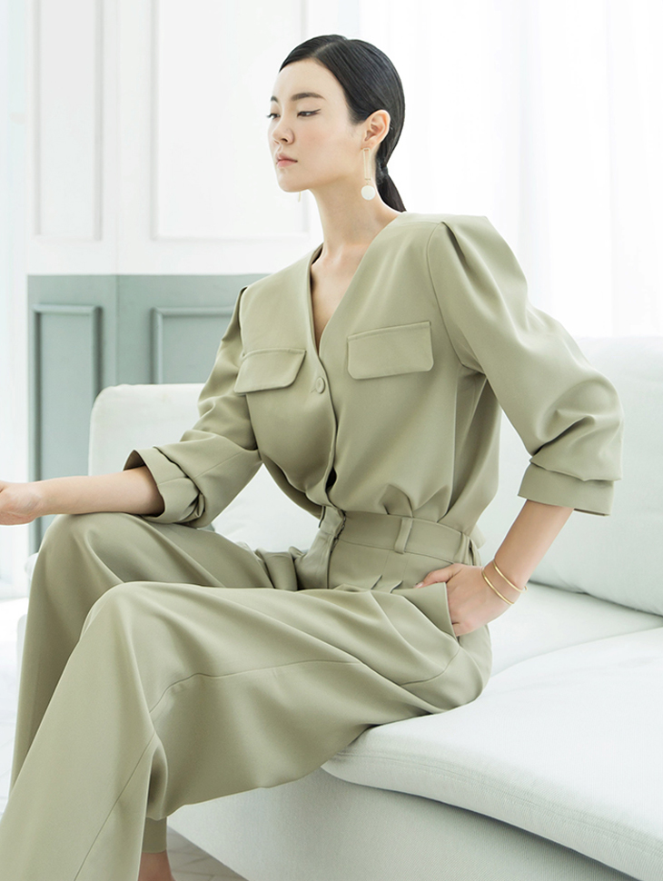 J716 eladi chic No-collar Jacket *can wear it in a shirt*