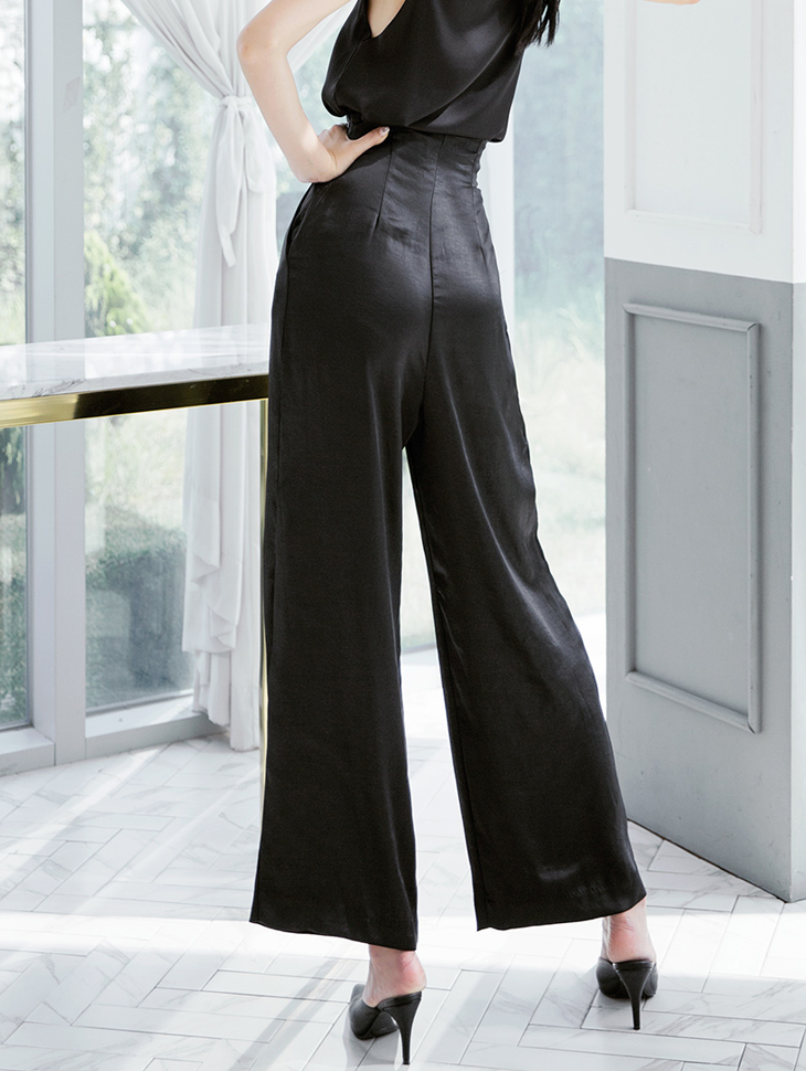 P2132 High Waist pin tuck silky pants