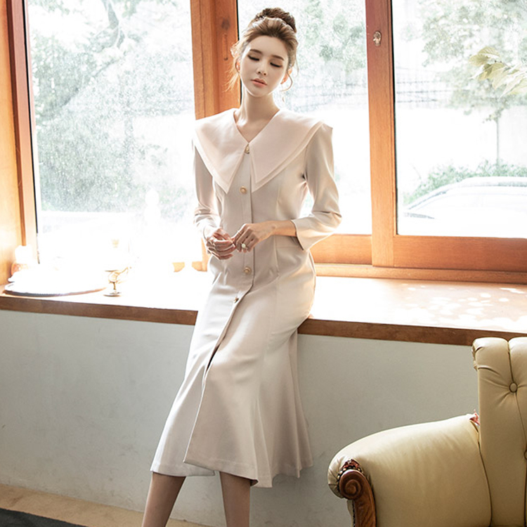 D3898 Kerren large Collar Jewelry Button Dress * Graceful Autumn Impression Wear *