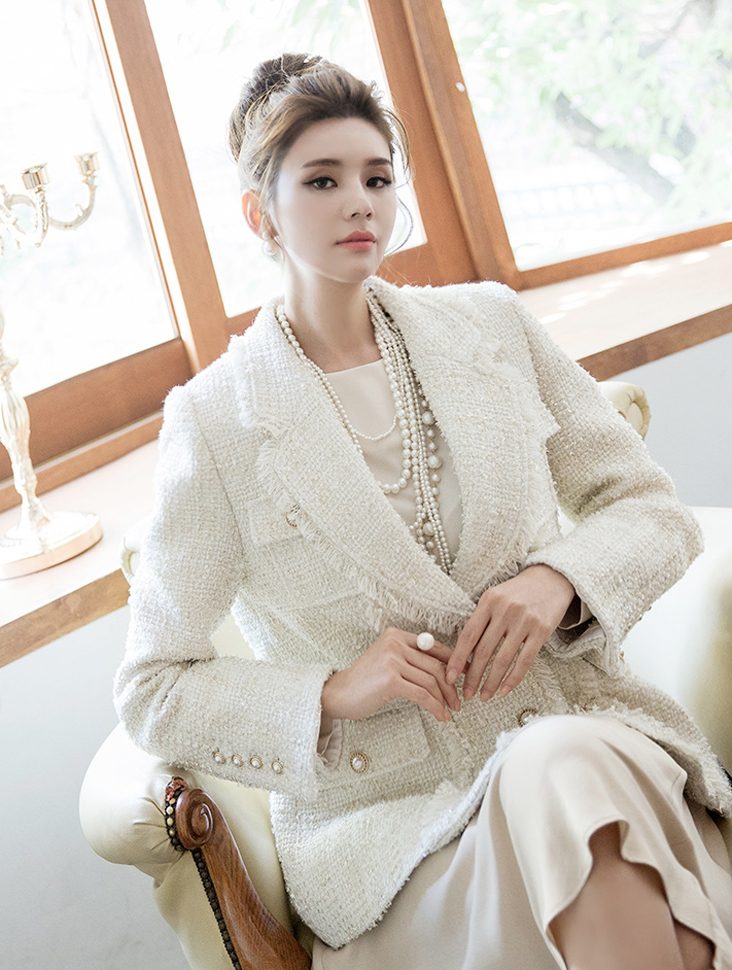 J735 Luxury Tweed Fringe Wool Jacket