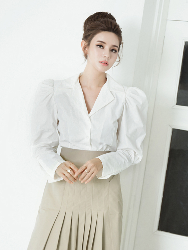 B2490 Two collar Puff Sleeve Cotton Blouse