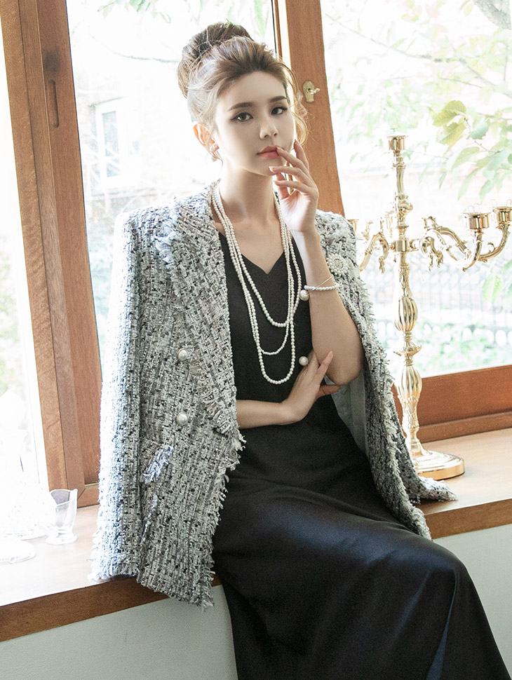 J733 Fringe mix Tweed Pearl Jacket