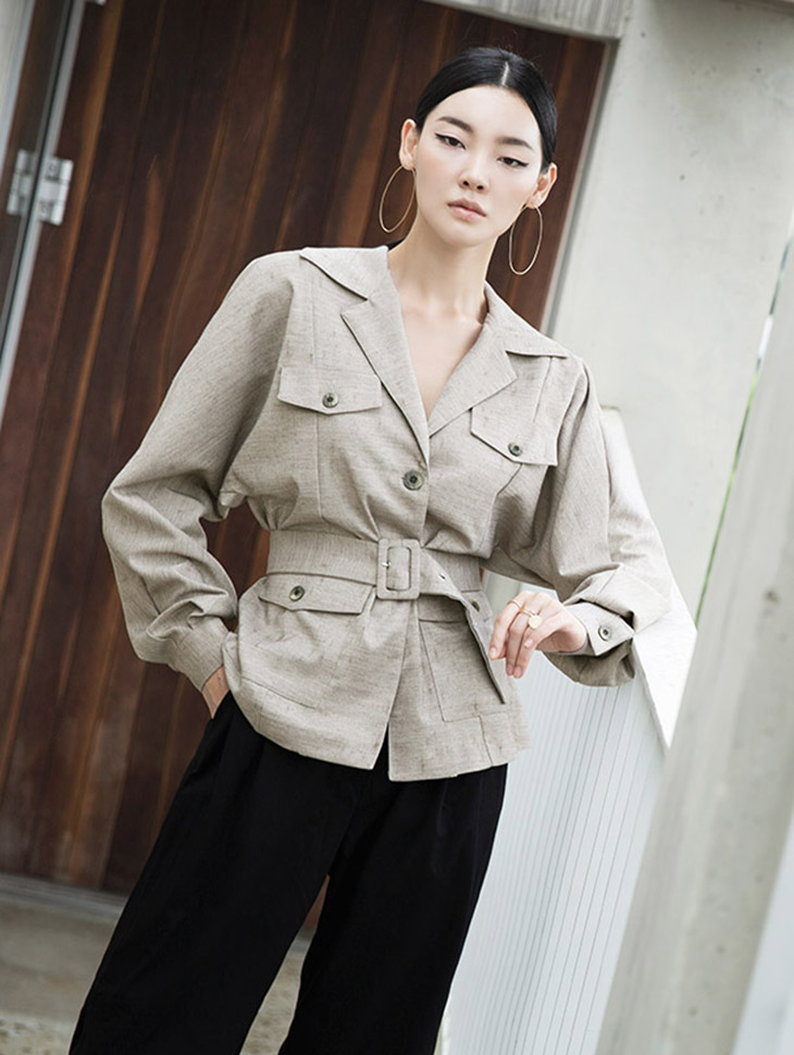 J723 Doubleline Pocket Veil Jacket (Belt set)