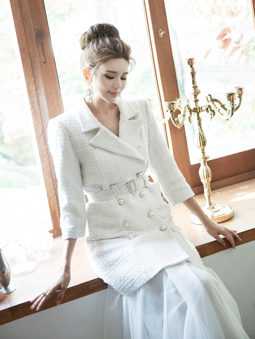 J732 Klamen Pearl Tweed Jacket (Belt set) * Can be worn as a dress * (3rd REORDER)